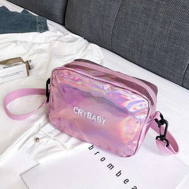 HTB1F4u7bv1G3KVjSZFkq6yK4XXaI Yogodlns 2019 Holographic Laser Backpack Embroidered Crybaby Letter Hologram Backpack set School Bag +shoulder bag +penbag 3pcs