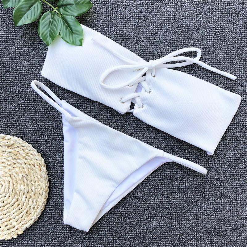Ariel Sarah Brand Sexy Swimwear Solid Bikini Women Swimsuit V Neck Bikinis Set Pants Adjust Bathing Suit Sport Style Biquini