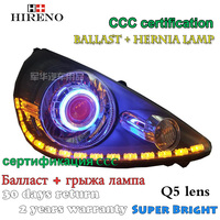 Hireno Modified Headlamp For Honda Fit Jazz Hatchback 2006 2008 Headlight Assembly Car Styling Angel Lens