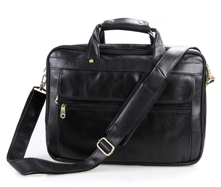 Large capacity 15 6 laptop briefcase black genuine leather men messenger bags cow leather portfolio men