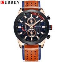 Men Watches Luxury Brand CURREN Multi Function Mens Sport Quartz Watch Man Waterproof Leather Business Clock