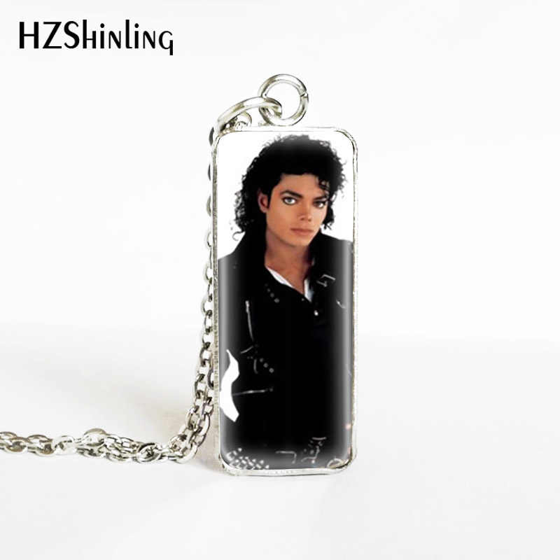 2019 New Fashion Michael Jackson Pop Famous Singer Star Rectangle Pendants Hand Craft Stainless Steel Necklace Jewelry Gifts