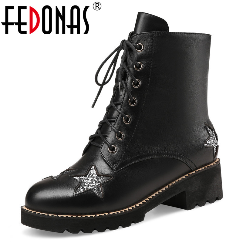 FEDONAS Fashion Black Martin Boots Women Autumn Winter Lace-up Soft Leather Platforms Shoes Woman Party Ankle Boots High Heels