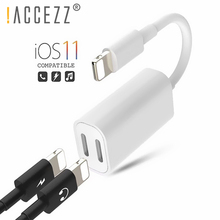 !ACCEZZ 2 In 1 Dual Lighting Charging Listening Adapter For IPhone X XR XS MAX 7 8 Plus IOS 11 Hearphone Audio Charger Converter