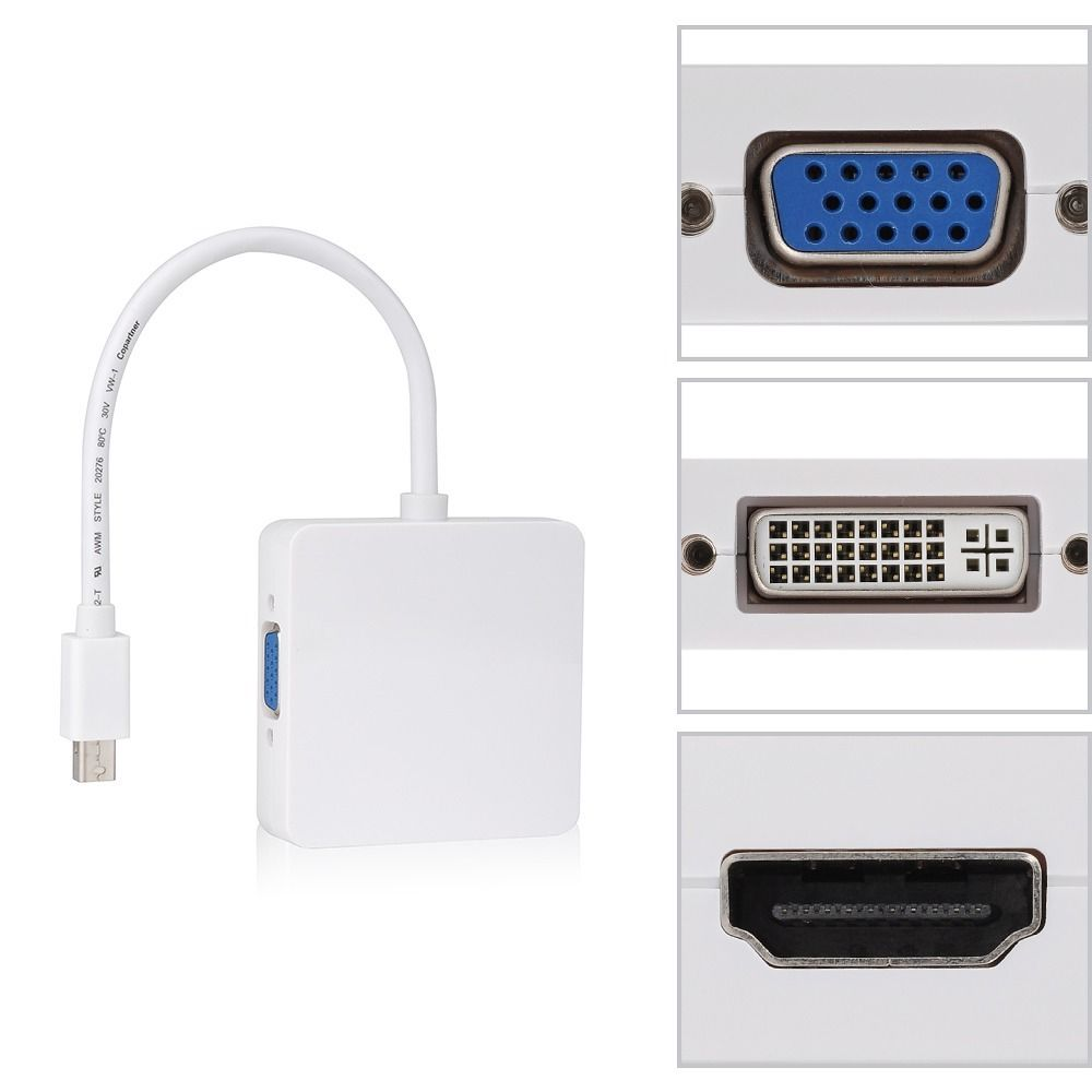 где купить NEW 3 in1 Thunderbolt Mini Displayport DP to HDMI DVI VGA Adapter Display port Cable for apple MacBook Pro Mac Book Air дешево