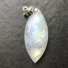 Genuine Natural Moonstone Blue Light Pendant Women Party New Gift 39x17x6mm Reiki Stone 925 Silver Crystal Necklace AAAAA
