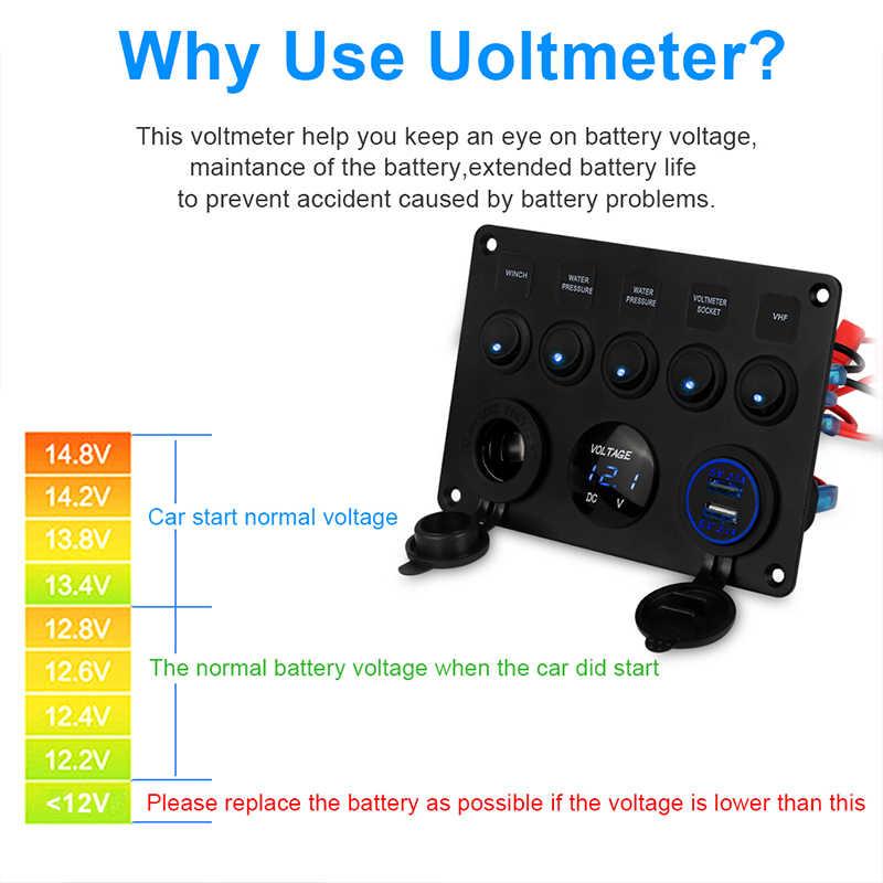 5 Gang ON-OFF Toggle Car Switch Panel Dual USB Socket Charger 4.2A LED Voltmeter  12V Power Outlet for Car Boat Truck Camper