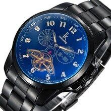 IK coloração Marcas de relógios mecânicos automáticos homem esportes ocasionais dos homens fase da lua relógio de aço masculino assistir à prova d' água