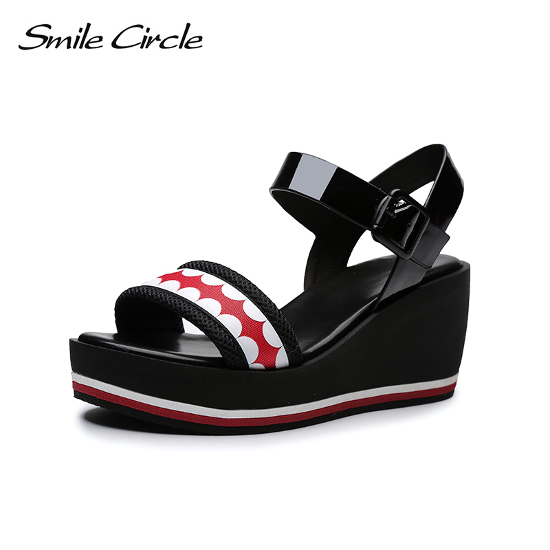 Smile Circle Summer Wedges Sandals Women Genuine Leather Fashion High-heeled Thick bottom Shoes Woman Sandals 2018 woman sandals 2018 summer women concise bling open toe casual shoes woman fashion thick bottom wedges sandals