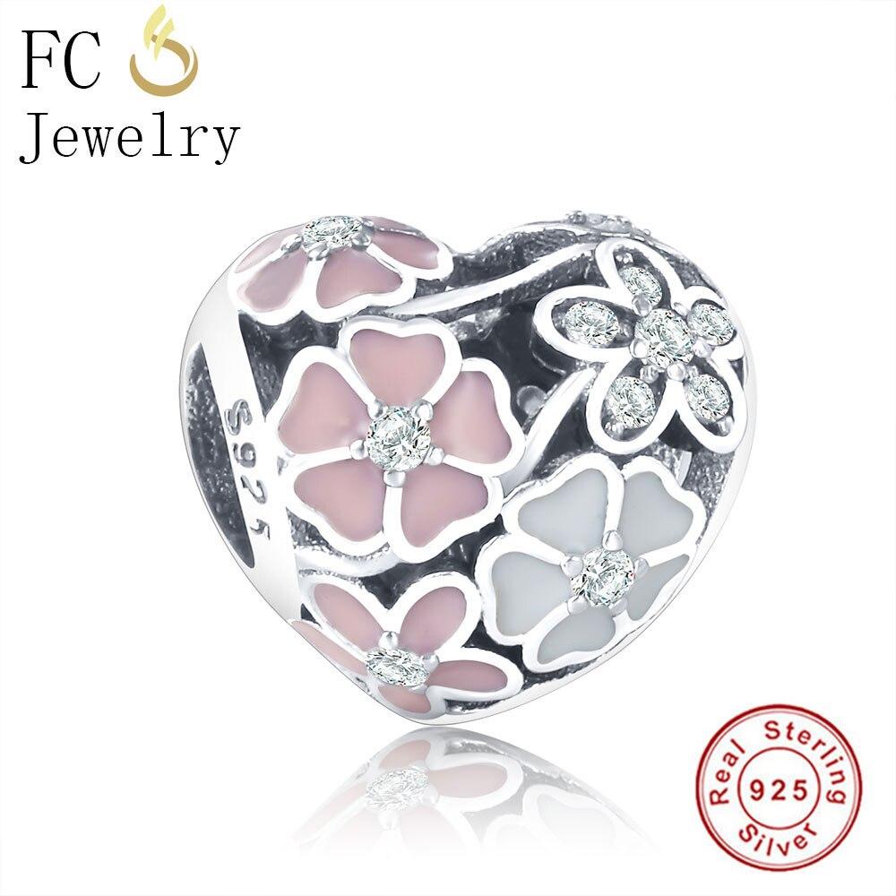 FC ювелирные изделия подходят оригинальный Пандора браслет 925 пробы серебряный европейский Весна эмаль цветы бусы для изготовления Berloque