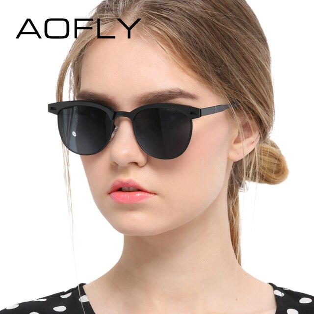 AOFLY Fashion Lady Sunglasses Metal Half Frame Sun glasses for Women Brand Designer Vintage Square Mirror Shades UV400 Gafas