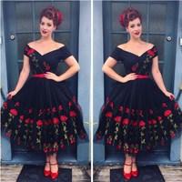 Plus Size 5XL 2018 Women Vintage Off Shoulder Mesh Lace Summer Dress Retro Rockabilly Big Swing Party Dresses