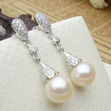 925 silver real natural big The eternal vow round Natural Pearl Earrings Sterling Silver Jewelry Earrings genuine high-end femal