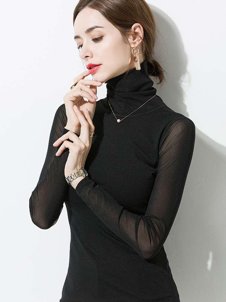 New 2019 Sexy Mesh Top Long Sleeve Women Black Net Punk Shirt Double layer Turtleneck Transparent Tops Club Party Sheer Tee lady in T Shirts from Women 39 s Clothing