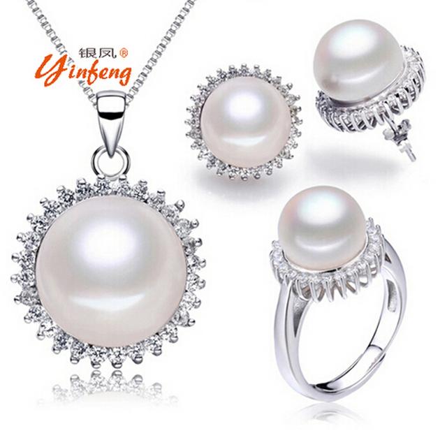 [Yinfeng] Joyería de perlas de Agua Dulce Verdadera Perla Natural Sun Flower Necklace Pendientes de Joyería Fina Perla Anillo 3 Trajes Para Las Mujeres