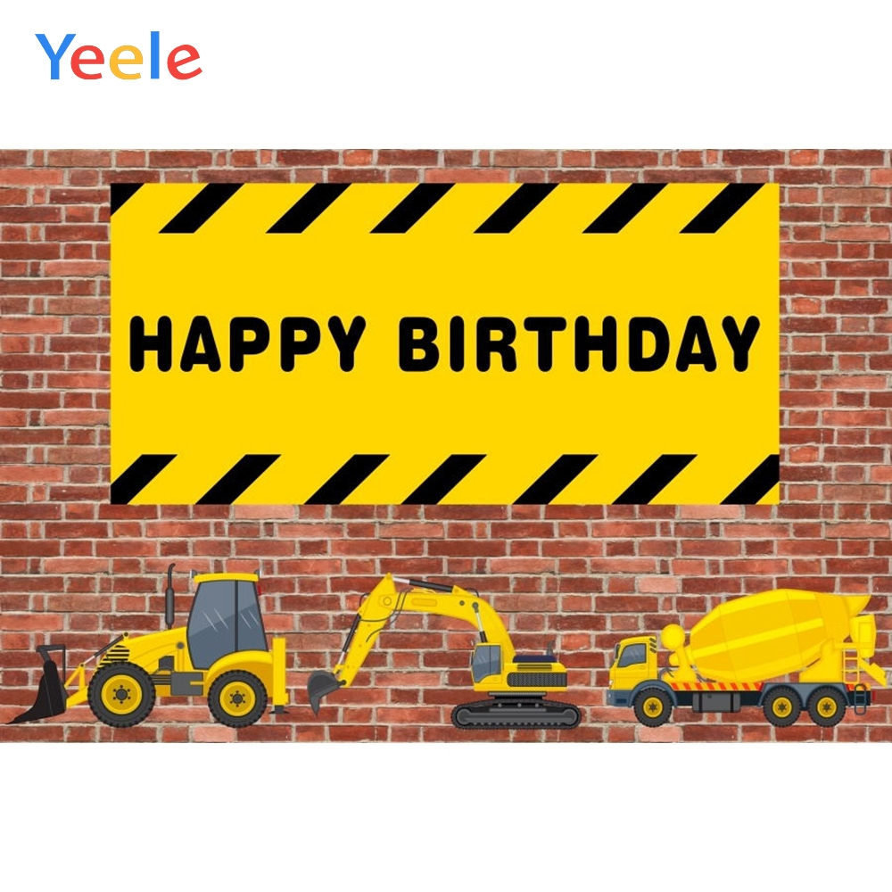 Yeele Photocall Backdrops Birthday Construction Party Stripe Caution Excavator Photography Backgrounds For Photo Studio