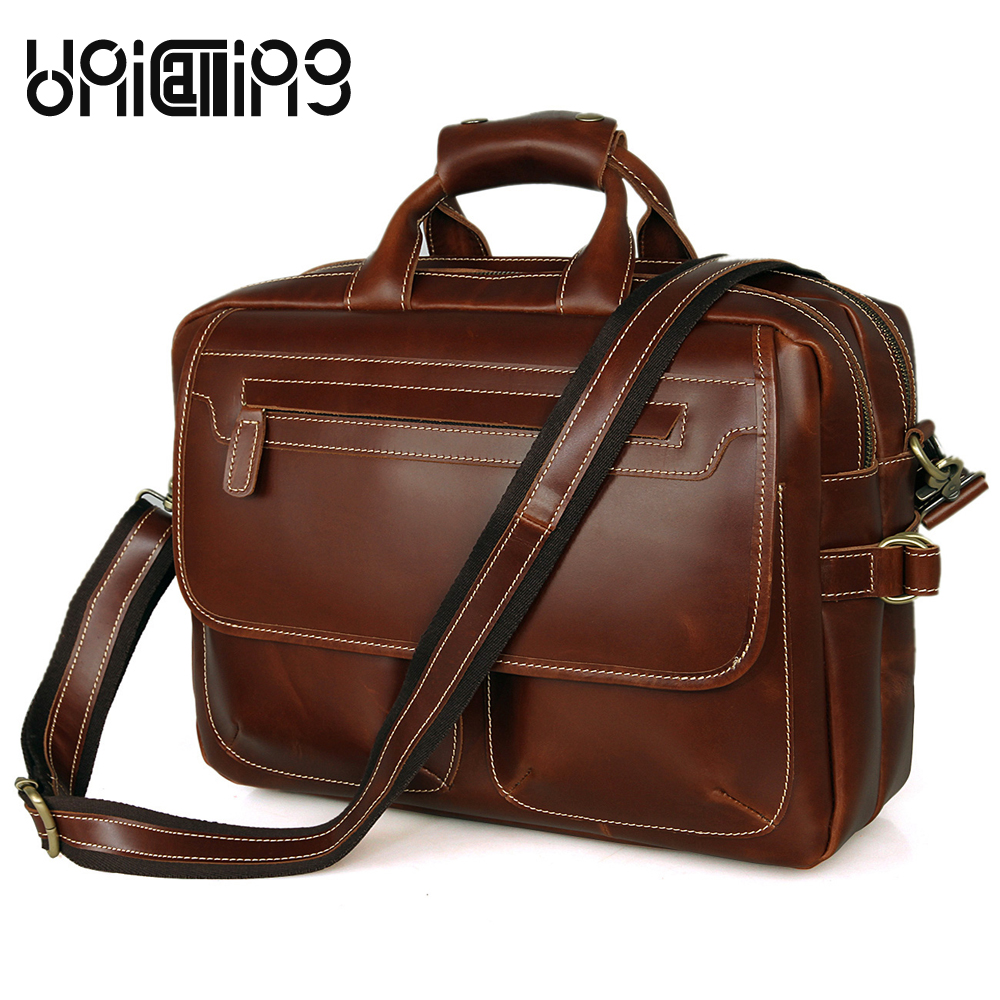 Handbag men large capacity men leather handbag quality genuine leather tote bag business leather bag briefcase double zippers