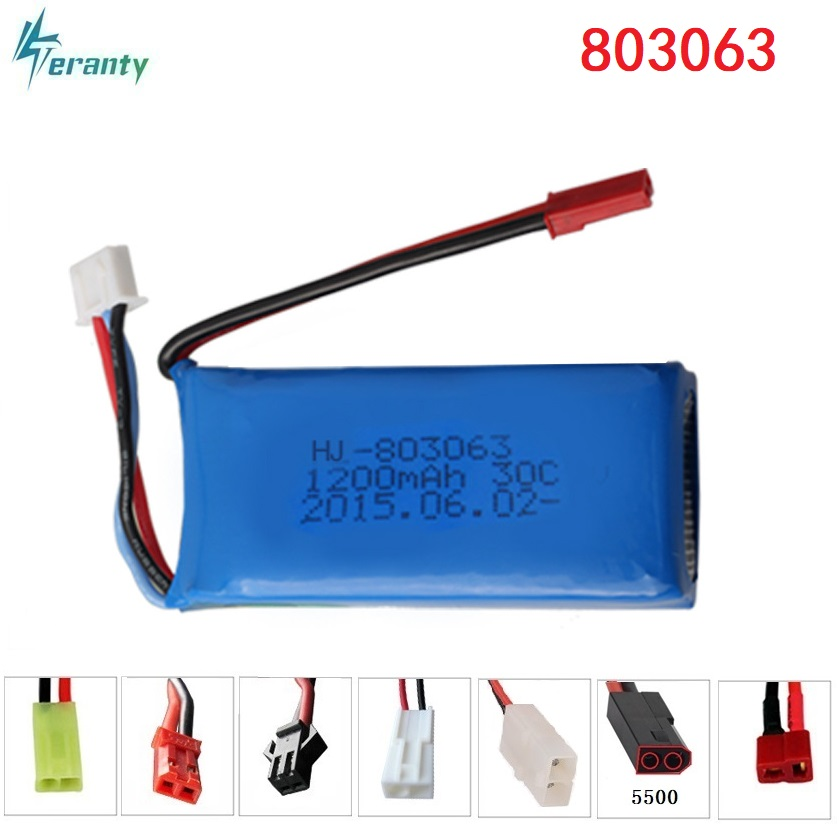 7.4 V 1200 mAh 803063 30C Lipo para Yi Zhang X6 H16 mjx X101 X102 control remoto quadrocopter 7.4 V 1200 mAh 2 s batería lipo