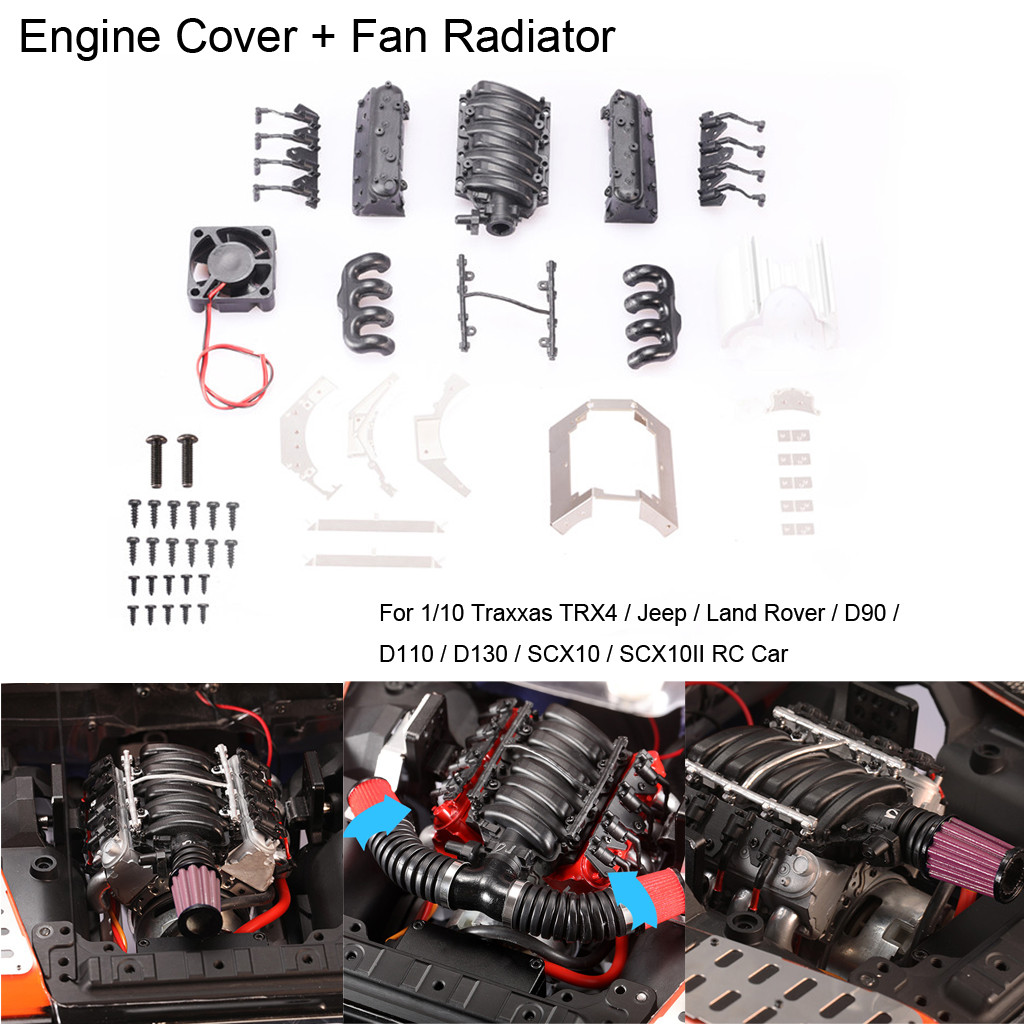 2019 Portable Suitable Charging Simulation V8 Engine Cover + Fan Radiator For Traxxas TRX4 D90 D110 D130 SCX10 convenient-in Parts & Accessories from Toys & Hobbies