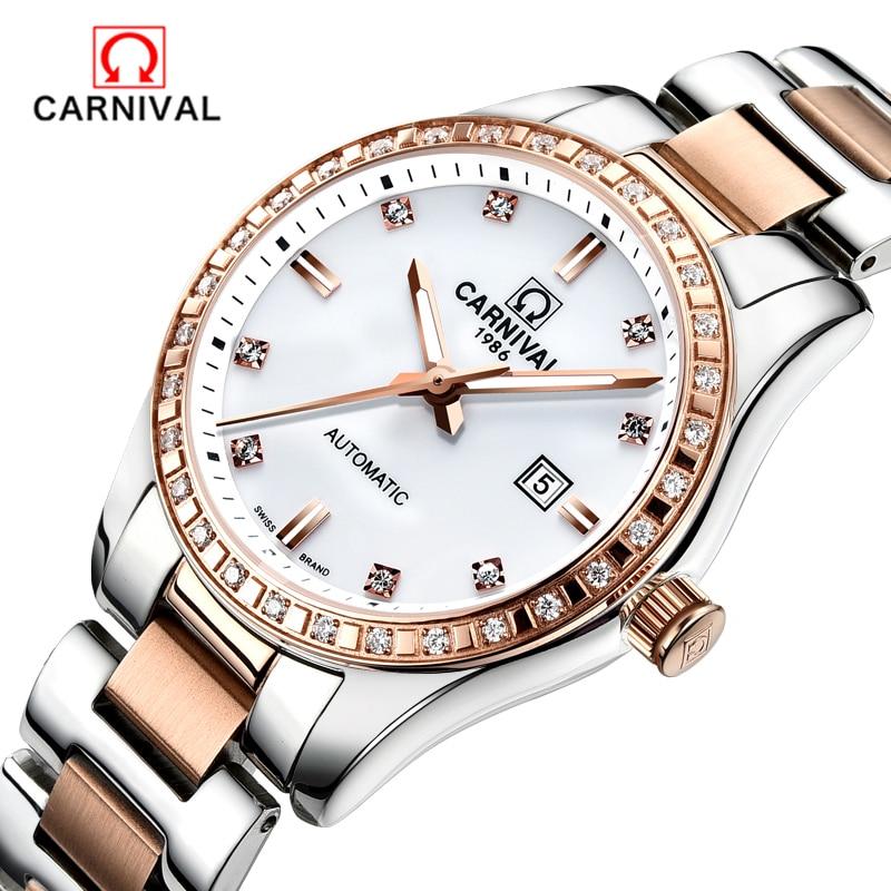 CARNIVAL Brand Fashion Casual Watch Mechanical Wrist Women Watches Relogio Feminino Date Clock Female Waterproof 30M Watch Ladie цена