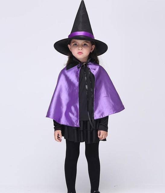 Ragazzo Ragazza Bambini bambini Costumi di Halloween Strega viola Guidata  Mantello Abito Robe e Cappello Cosplay 8574ac0b33c8