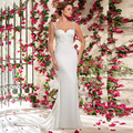 Designer Simple Mermaid Wedding Dresses 2016 New Style Beading Spaghetti Straps Court Train Wedding Gown Button Back  Glamorous