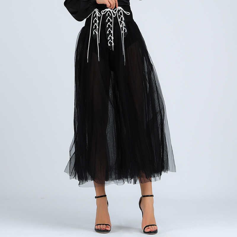 Beateen 2019 קיץ חדש אופנה נשים מקרית שרוכים אורגנזה רשת חצאית ליידי מועדון קו גזה קרסול-אורך חצאית