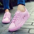 Novo 2016 Fashion Flats Mulheres Formadores Respirável Mulher Esporte Sapatos de Skate Casual Walking Zapatillas Mujer Mulheres Apartamentos Rosa Branca
