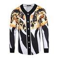 Medusa Long sleeves Cardigan spring autumn Harajuku fashion gold chain print Baseball clothing  Men long sleeve free shipping
