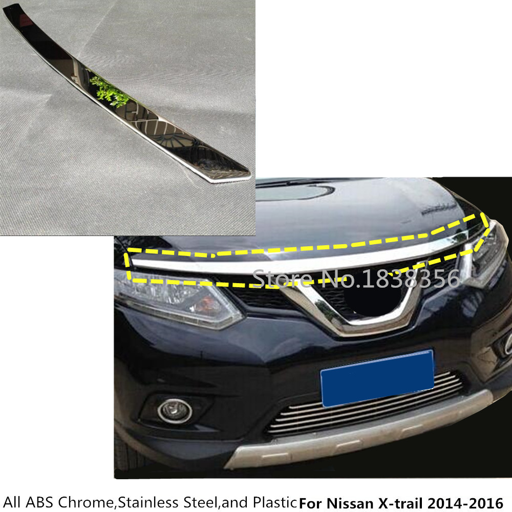 For Nissan X-trail xtrail T32/Rogue 2014 2015 2016 ABS chrome front engine Machine grille upper hood stick lid trim lamp 1 for nissan x trail xtrail t32 rogue 2014 2015 2016 abs chrome front engine machine grille upper hood stick lid trim lamp 1