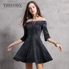 YSSAYSSX Off-The-Shoulder Collar Slim Denim Dress Vintage Waist Hem Sleeve Denim Dress Single-Breasted Solid Color Denim Dress недорого