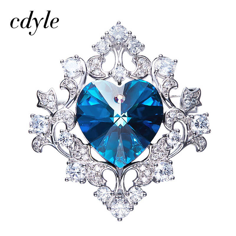 Cdyle Crystals from Swarovski Brooches Women Austrian Rhinestone Fashion  Jewelry Elegant Luxury Blue Purple Heart Shaped 535f98e33fc1