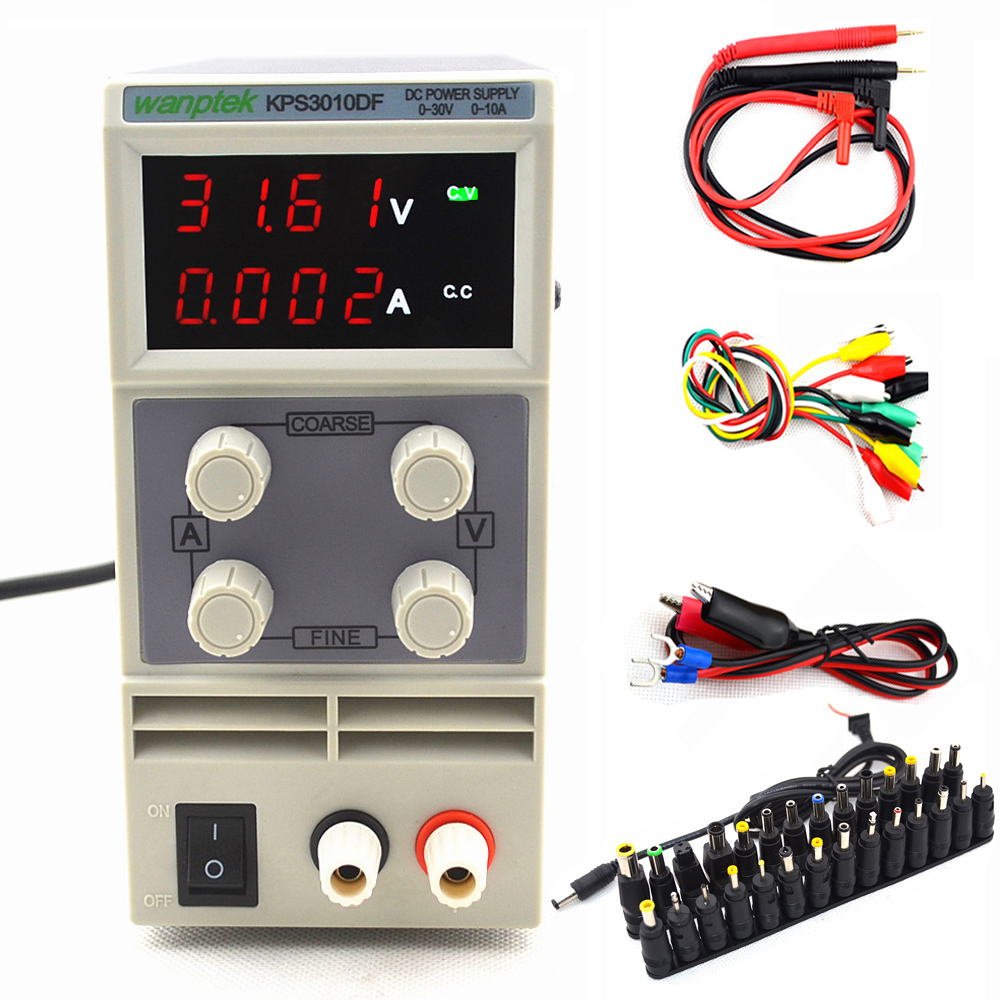 4 Digits Display KPS3010DF 30V 10A 110V-230V 0.01V/0.001A LED Mini Digital Adjustable Switch DC Power Supply and DC Jack digital meter charge and discharge tester dc 8 28v control switch dc 0 30v 10a ac 0 250v 10a relay controller
