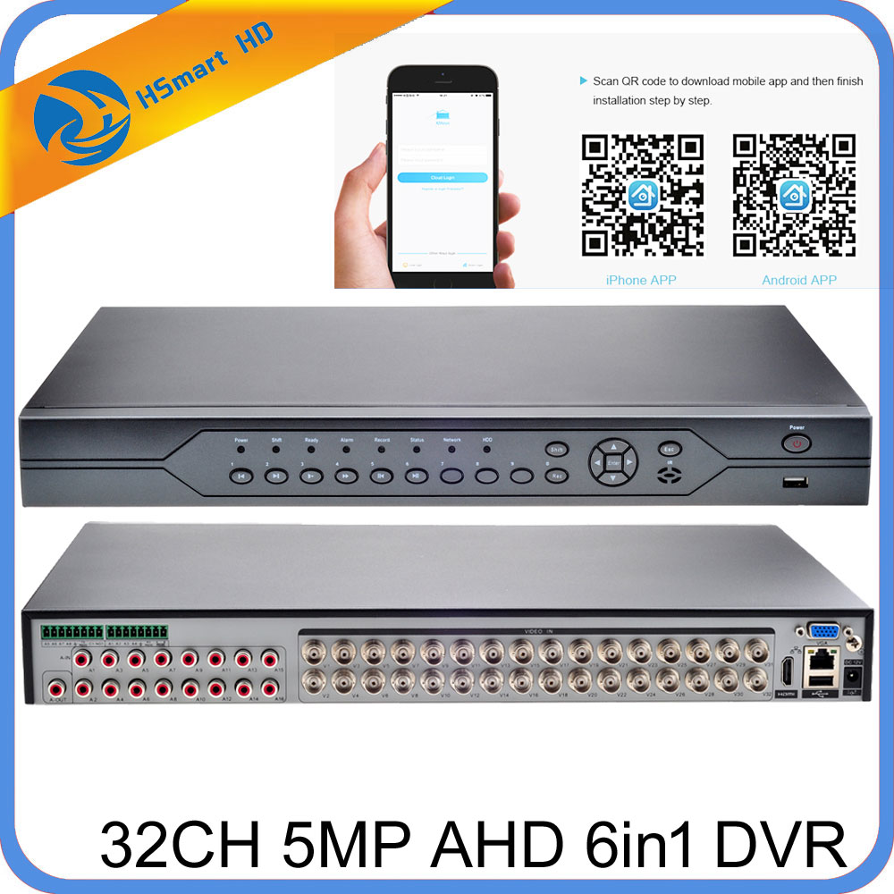 H.265/H.264 32CH 5MP AHD CVI TVI DVR Surveillance de sécurité pour hk xmeye daha caméras ONVIF IP caméra prise en charge Audio e/s alarme e/s