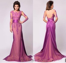 New Mermaid Evening Dresses With Long Sleeves 2017 Vestido De Festa Princess Style Formal Gowns For Wedding Party Prom Dresses