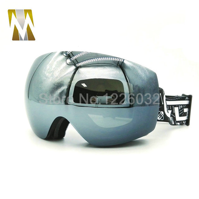 83e7b21f41c Black ski goggles motocross motorcycle dual lens uv-protection anti-fog  goggle skiing glasses