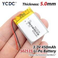 3,7 в 450 мАч 502535 литий-полимерный Li-Po литий-ионный аккумулятор Lipo батареи для прожектора тахографа Bluetooth динамик
