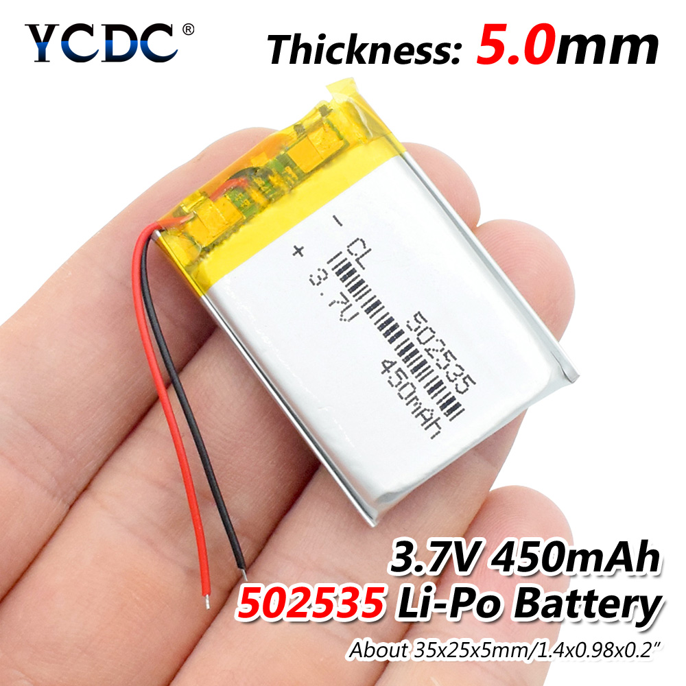 3.7V 450mAh 502535 Lithium Polymer Li-Po Li Ion Rechargeable Battery Lipo Cells For Searchlight Tachograph Bluetooth Speaker