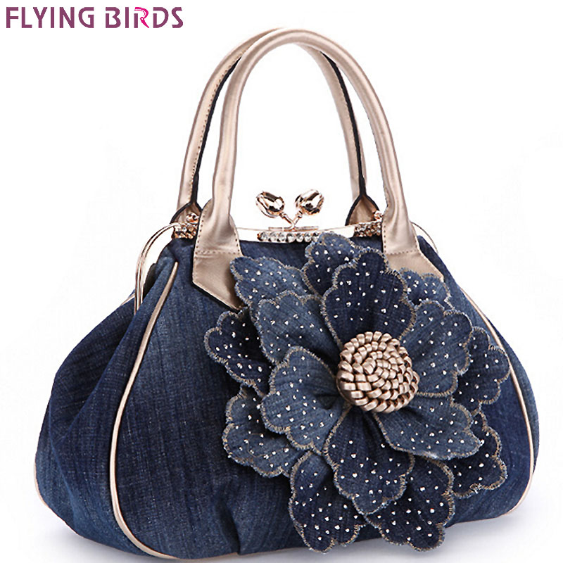 FLYING BIRDS Designer Women Handbag Vintage Flower Women's T