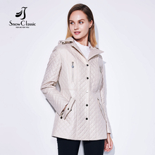Snowclassic Осенняя Куртка женская тонкая короткая парка капюшоном пальто Роскошные верхняя одежда жакет Женский над сплошной зимние куртки широкий талией