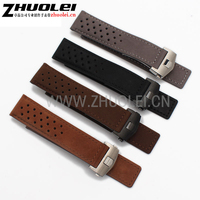 22mm Mens Top Grade Genuine Leather Watch Band Silver Black Deployment Watch Buckle For Heuer Strap