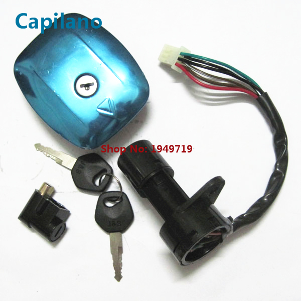 Motorcycle Scooter Gs125 Electric Ignition Switch Lock Set Power Door Lock With Gas Cap Cover For Suzuki 125cc Gs 125 (6 Line)