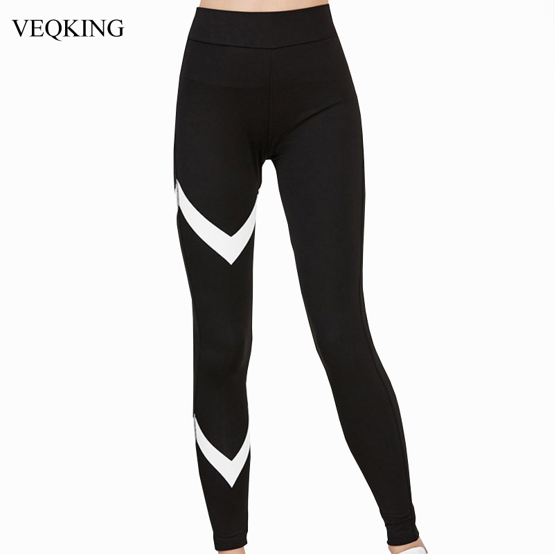 Prix pour VEQKING Flèche Impression Sport Yoga Pantalon Noir Blanc Patchwork Gym Vêtements Legging Sport Femmes Collants Running Yoga Legging Pantalon