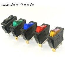 Красный зеленый синий желтый светодиодный прямоугольник с подсветкой вкл/выкл длинный кулисный переключатель SPST автомобильный тире