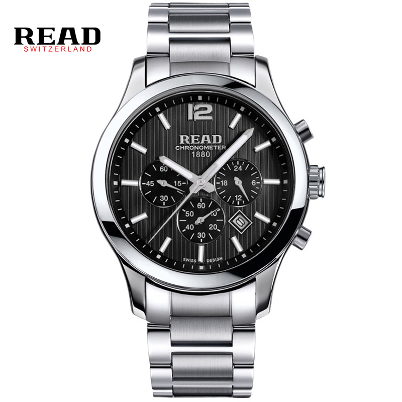 ФОТО READ brand tops 2017 Multifunction full steel second hand watches for men sapphire crystal Multiple Time Zone Calendar 8083GQ