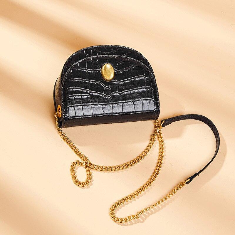 Luxo mini rodada saco Mulheres Bolsa do Couro Genuíno cadeia de Mulheres do desenhador Sacos Do Mensageiro Do Ombro Pequena Bolsa Da Embreagem Bolsa bolsos mujer - 3