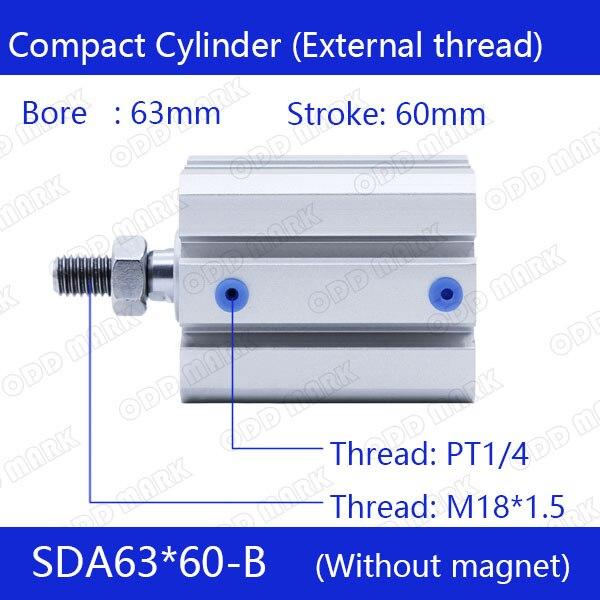 Фотография SDA63*60-B Free shipping 63mm Bore 60mm Stroke External thread Compact Air Cylinders  Dual Action Air Pneumatic Cylinder