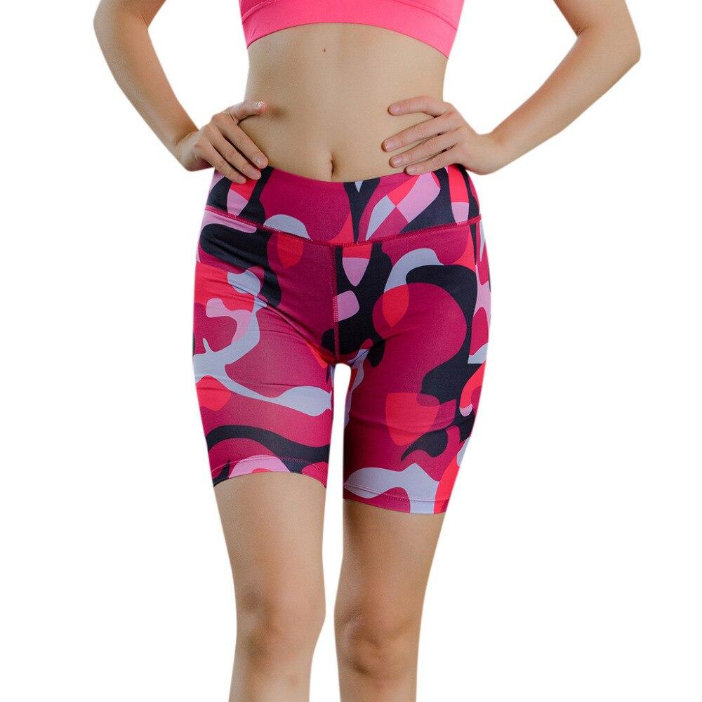 2019 Women's Camouflage Luminous Yoga Shorts Fitness Yoga Shorts Gym Fitness Quick-drying Ladies High Waist Yoga Shorts 40J1