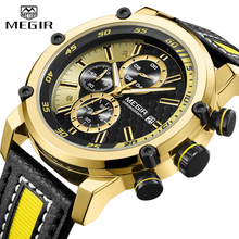 Top Luxury Brand MEGIR Golden Watch Men Sports Quartz Wrist Watch Men's Chronograph Waterproof Military Mens Watches Male Clock