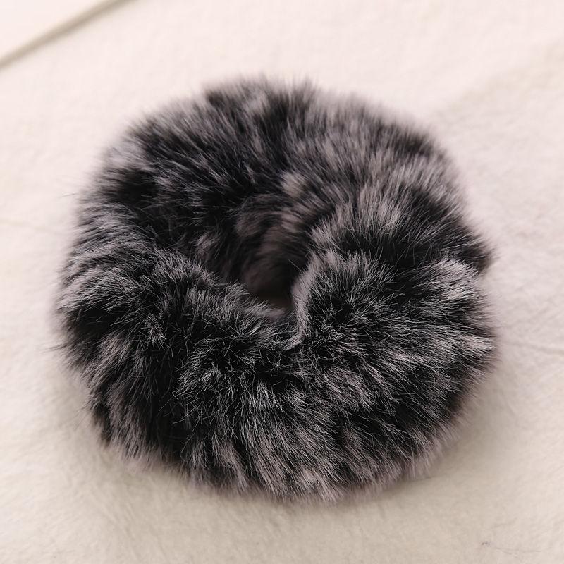 AIKELINA/Новинка; зимняя теплая мягкая резинка для волос из искусственного кроличьего меха для девочек и женщин; аксессуары для волос; Детская резинка; головной убор - Цвет: Black
